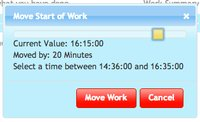 Move start time during work recording