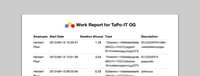 Printable Work Time Reports (Timesheets)